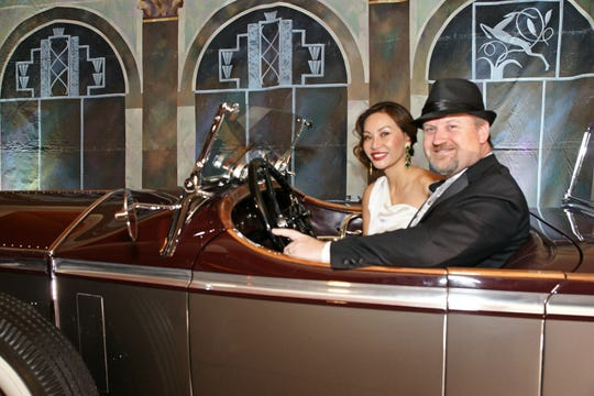 (left to right) Shown in one of the vintage cars is  Peter Skaaning, Owner of Rapport International Furniture, who was theevent'sTop Hat Presenting Sponsor, with his wife Bonea Skaaning, Rapport's lead designer.