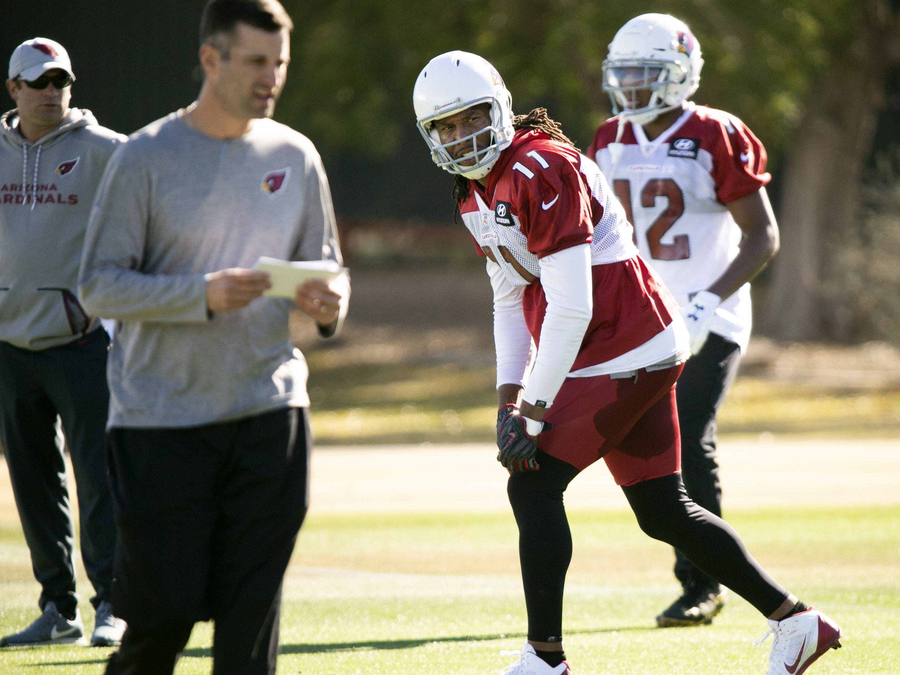 Cardinals wide receiver Larry Fitzgerald during a practice at the Cardinals training facility in Tempe on Thursday, December 27, 2018.