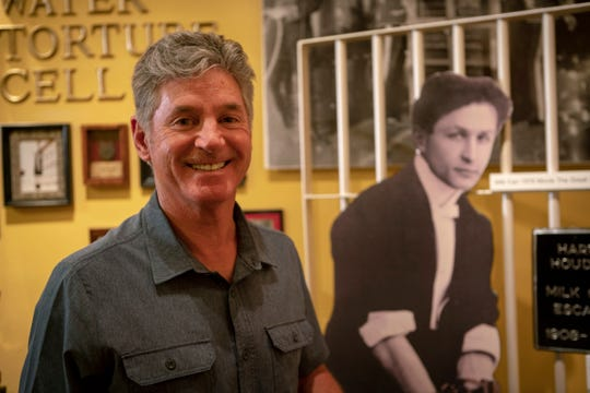"This October 2018 photo provided by the Science Channel shows George Hardeen, the great-nephew of magician Harry Houdini, at the Magic's Theater & Museum in Austin. At 66, Hardeen is delving into the history of his great-uncle in a journey that is the heart of a new series, ""Houdini's Last Secrets,"" set to begin airing Jan. 6 on the Science Channel."