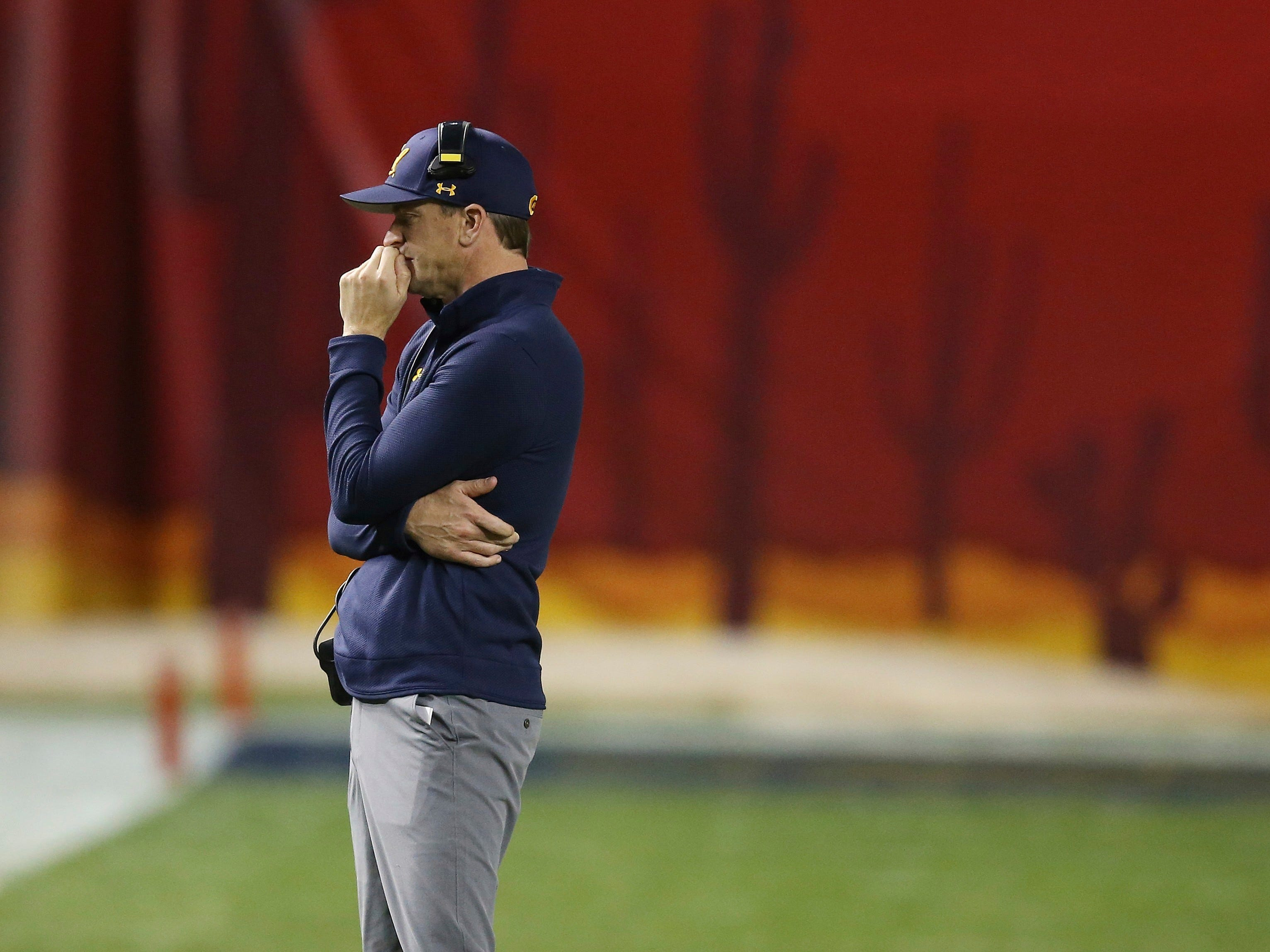 California head coach Justin Wilcox pauses on the sidelines during the second half of the Cheez-It Bowl NCAA college football game against TCU Thursday, Dec. 27, 2018, in Phoenix. TCU defeated California 10-7 in overtime.