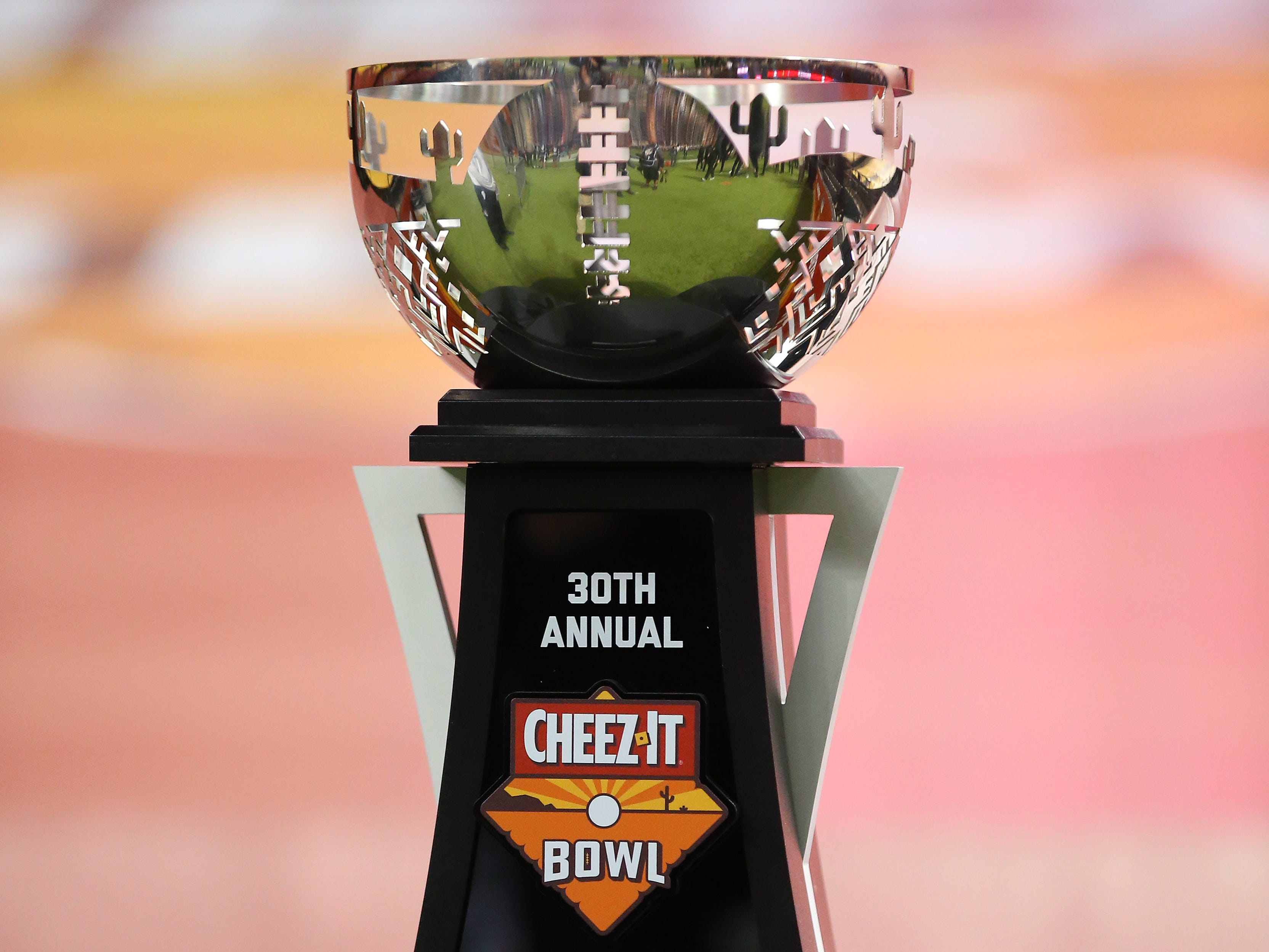 Dec 26, 2018; Phoenix, AZ, USA; Detailed view of the trophy to be awarded to the winner of the Texas Christian Horned Frogs game against the California Golden Bears in the 2018 Cheez-It Bowl at Chase Field.