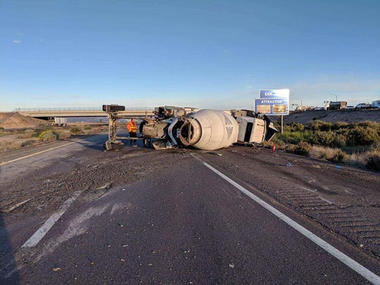A concrete truck crashed on the westbound side of Interstate 10 at Queen Creek Road on Dec. 27, 2018.