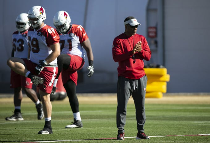 Cardinals head coach Steve Walks looks on during a practice at the Cardinals training facility in Tempe on Thursday, December 27, 2018.