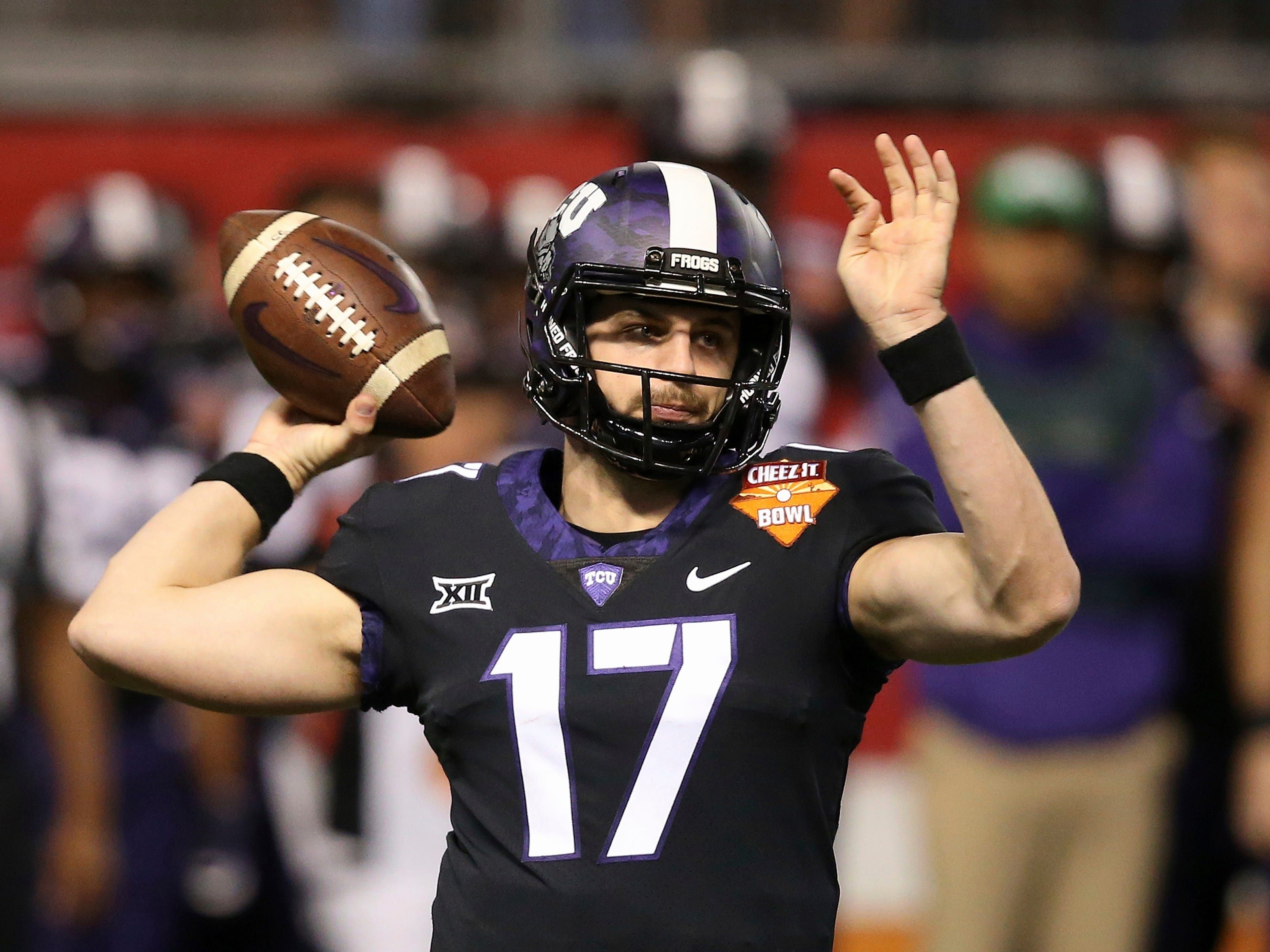 TCU quarterback Grayson Muehlstein throws a pass against California during the first half of the Cheez-It Bowl NCAA college football game Wednesday, Dec. 26, 2018, in Phoenix.