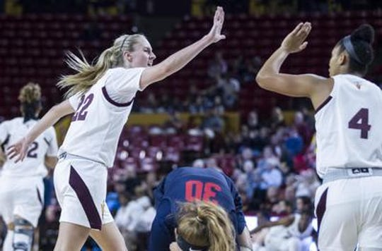 No. 17 Arizona State women's basketball is 9-2 in non-conference and opens Pac-12 play Sunday at Arizona. Courtney Ekmark, left, and Kiara Russell are shown from Dec. 20 game vs. Fresno State.