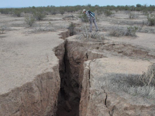 This 1.8-mile-long fissure is 30 feet deep in places. It opened south of Arizona City after decades of heavy groundwater pumping.