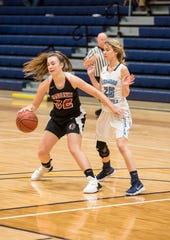 Richmond High School guard Jenna Schroeder (25) defends against Sandusky High School forward Gabby Gough during their SC4 Holiday Basketball Showcase game Thursday, Dec. 27, 2018 at the SC4 Fieldhouse.