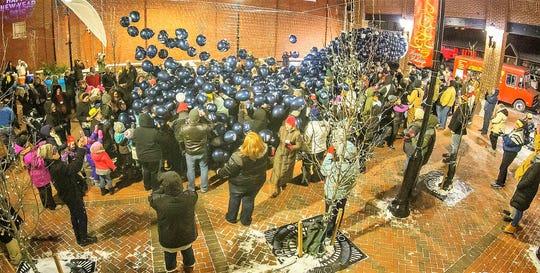 Thousands of balloons fall at Main Street Park during Mainstreet Waynesboro's inaugural Boro Blast on Dec. 31, 2017.