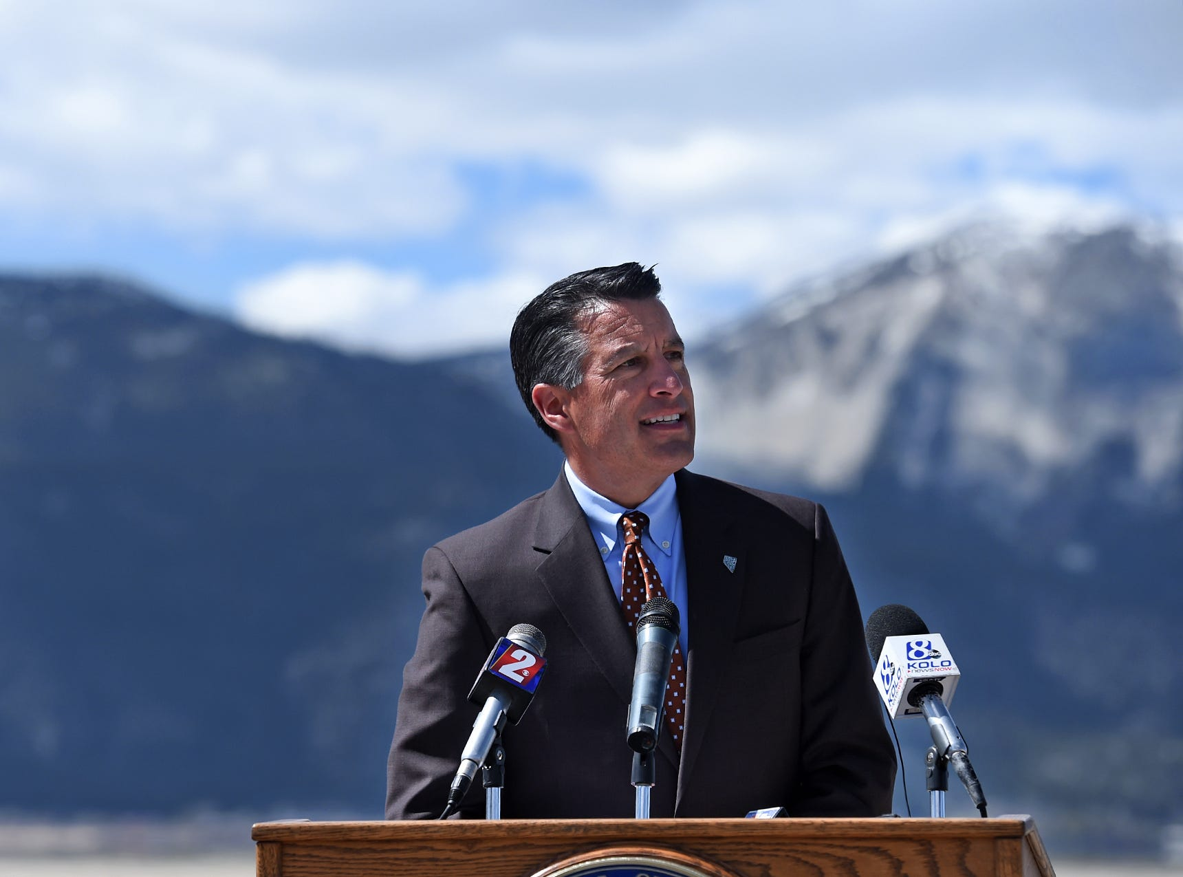 Governor Brian Sandoval speaks before signing an Executive Order to create a Nevada drought forum during a press conferece at Washoe State Park on Wednesday April 8, 2015.