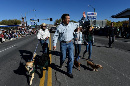 Governor Brian Sandoval and his family take part in the Nevada Day parade and celebration in Carson City on Oct. 31, 2015.