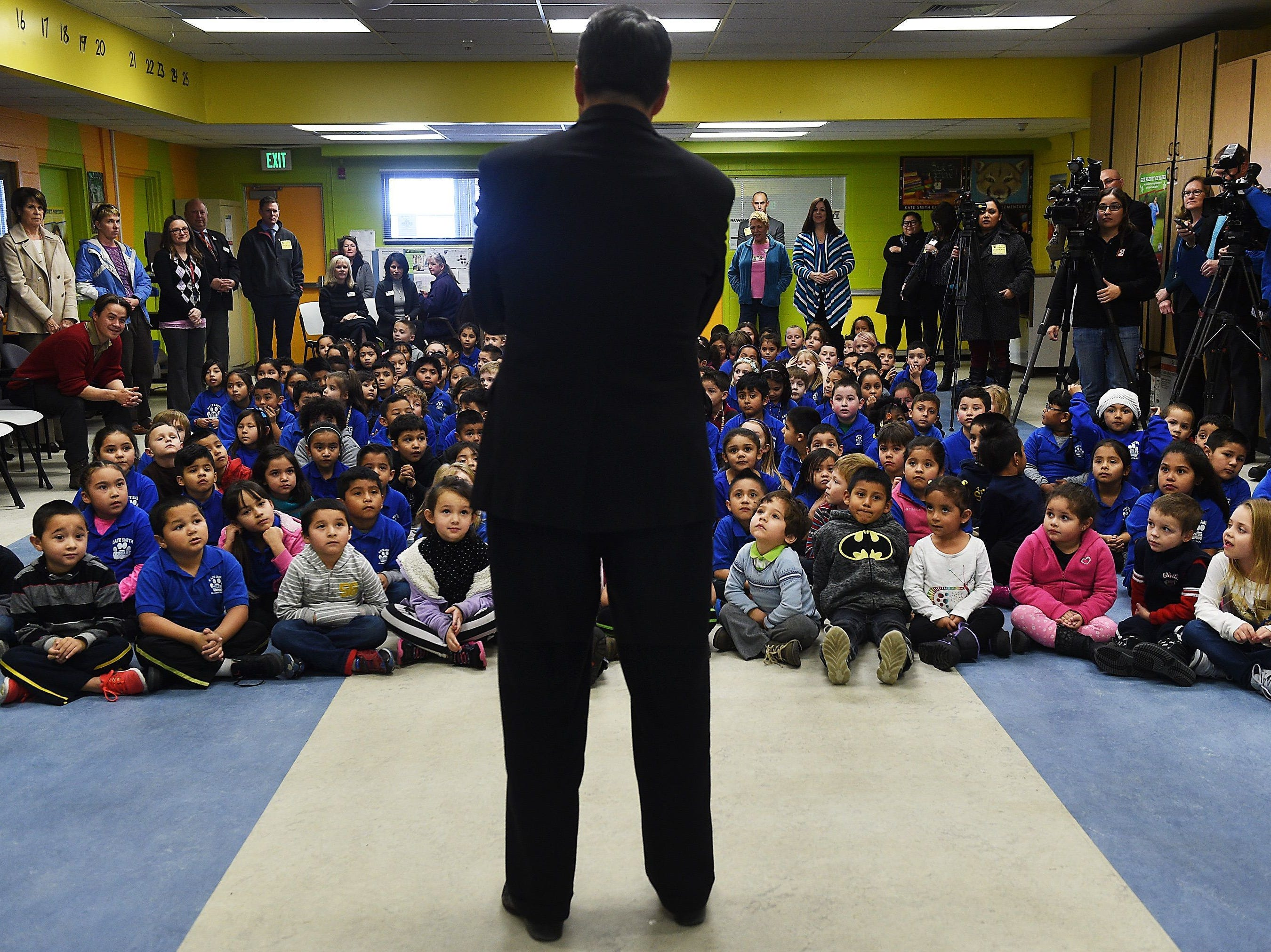 Governor Brian Sandoval speaks at Kate Smith Elementary School in Sparks on Feb. 2, 2016. Jason Bean/RGJ file