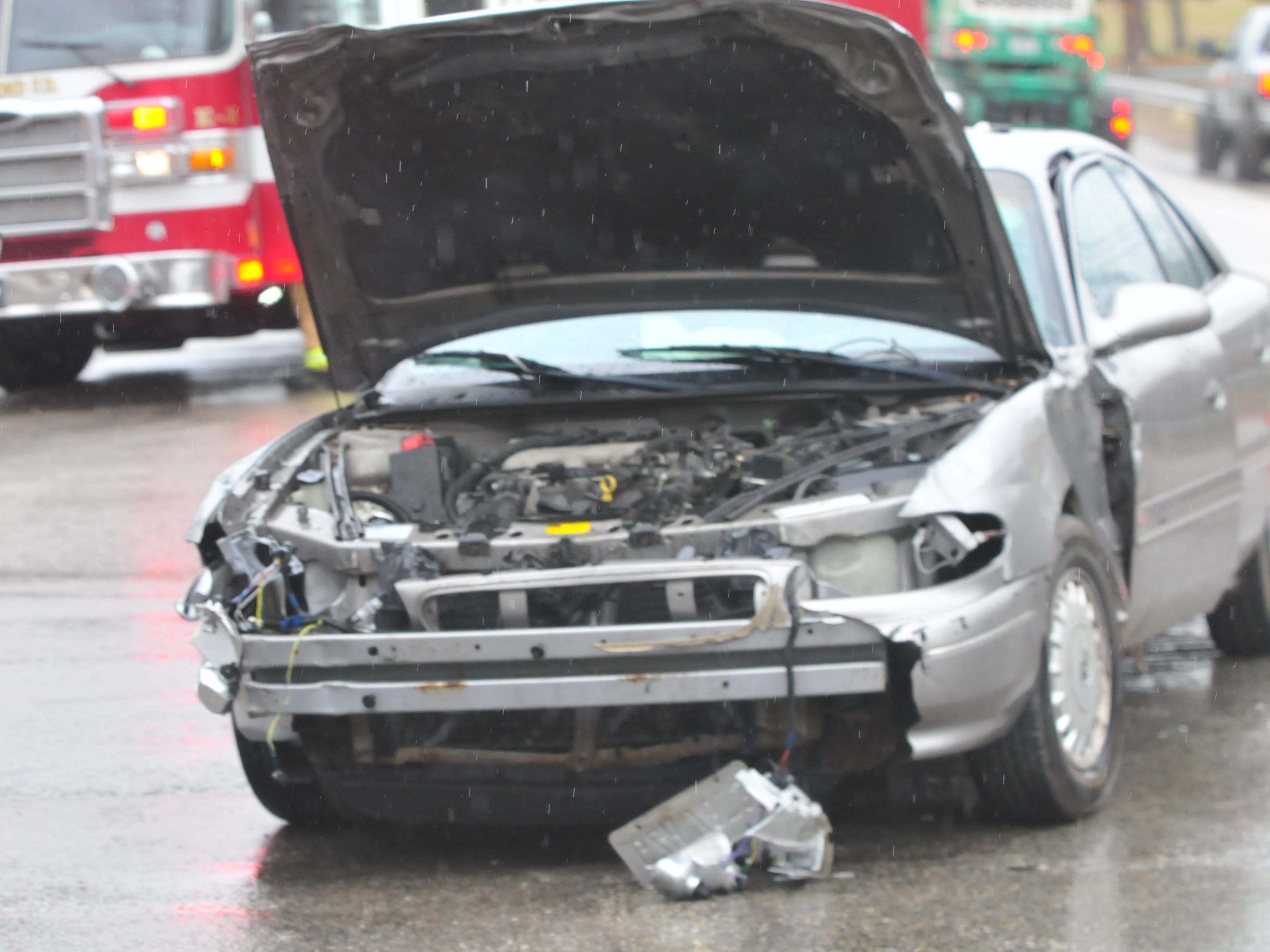 A Buick Century was damaged Thursday during a three-vehicle accident on Indiana 121 at Hayes Arboretum Road.