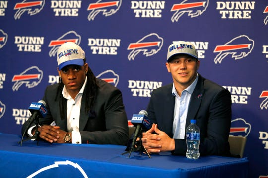 Buffalo Bills first round draft picks linebacker Tremaine Edmunds and quarterback Josh Allen during a press conference at New Era Field.