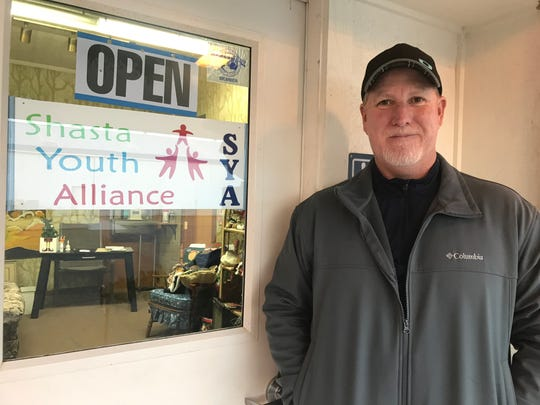 Jim Elliott, about to step inside the building where his Shasta Youth Alliance nonprofit is helping people displaced by Redding's Carr Fire and Camp Fire in greater Chico.