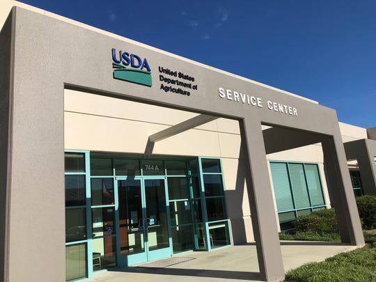 Outside the USDA office in Salinas, where the partial government shutdown has resulted in only a few staff working for the Farm Service Agency.