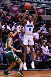 St. Georges' Nah'Shon Hyland (5) goes for a shot in a game against Archbishop Carroll during the Governor's Challenge basketball tournament at the Civic Center in Salisbury on Wednesday, Dec 26, 2018.