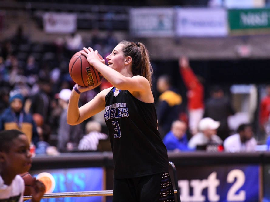 King's Christian's Kayla Grey (3) shoots during the Governor's Challenge 3-point contest at the Civic Center in Salisbury on Wednesday, Dec 26, 2018.