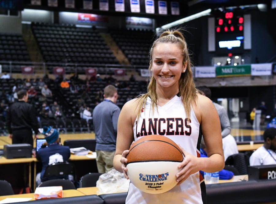 3-point contest winner Linganore's Fiona Rowan poses after the event at the Governor's Challenge basketball tournament in Salisbury on Wednesday, Dec 26 2018.