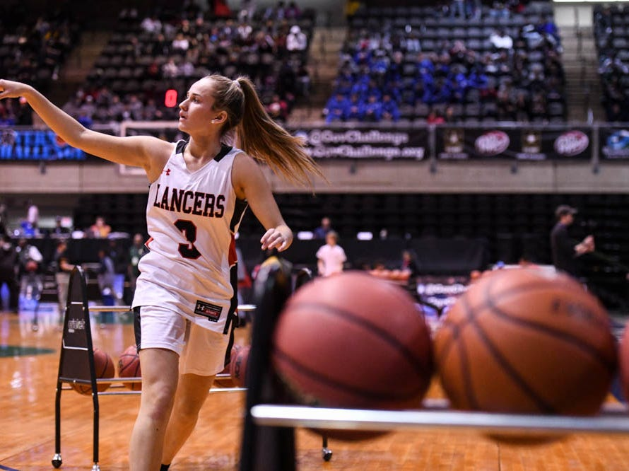 Contest Winner, Linganore's Fiona Rowan (3), shoots during the Governor's Challenge 3-point contest at the Civic Center in Salisbury on Wednesday, Dec 26, 2018.