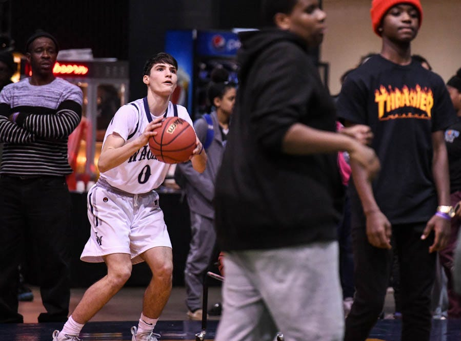Contest Winner, Wagner's Bleron Lata, shoots during the Governor's Challenge 3-point contest at the Civic Center in Salisbury on Wednesday, Dec 26, 2018.