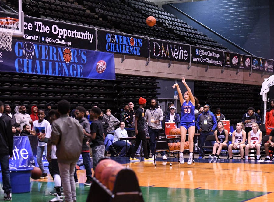 Kempsville's Cate Carlson (23) shoots during the Governor's Challenge 3-point contest at the Civic Center in Salisbury on Wednesday, Dec 26, 2018.