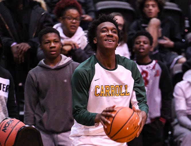 A Carroll player shoots during the Governor's Challenge 3-point contest at the Civic Center in Salisbury on Wednesday, Dec 26, 2018.