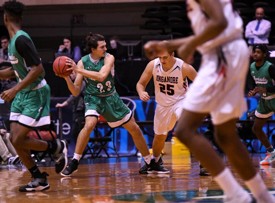 Parkside's Brandt Vasquez (23) moves the ball against Linganore in the Governor's Challenge basketball tournament at the Civic Center in Salisbury on Thursday, Dec 27, 2018.