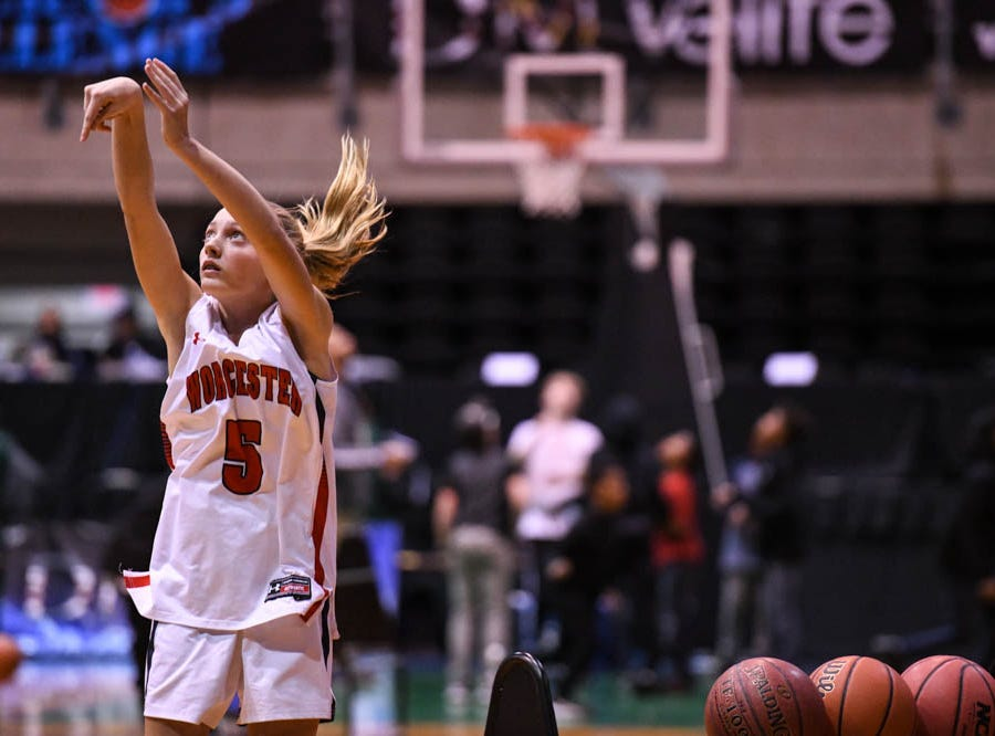 Worcester's Lily Baeurle (5) shoots during the Governor's Challenge 3-point contest at the Civic Center in Salisbury on Wednesday, Dec 26, 2018.