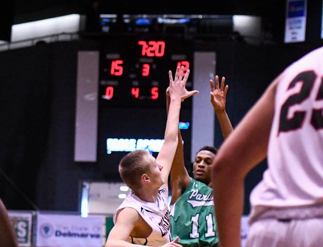 Parkside's Jakai Spence (11) shoots against Linganore in the Governor's Challenge basketball tournament at the Civic Center in Salisbury on Thursday, Dec 27, 2018.