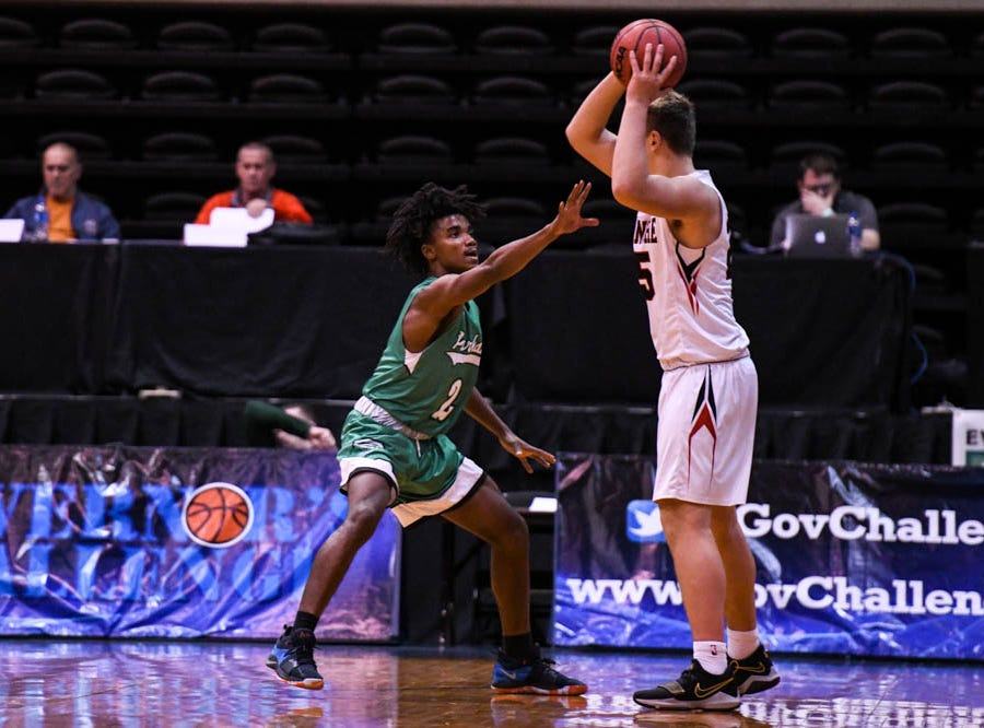 Parkside's Tawain Hardy (2) defends against Linganore in the Governor's Challenge basketball tournament at the Civic Center in Salisbury on Thursday, Dec 27, 2018.