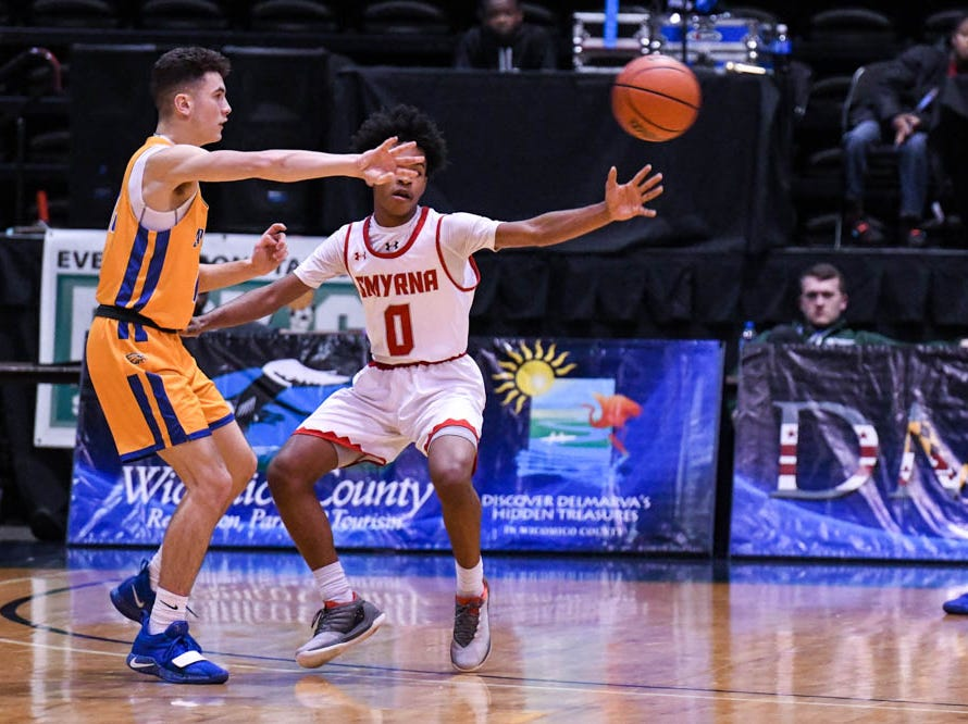 Smryna's DaVaughn Stanford (0) plays against St. Peter's in a Governor's Challenge basketball tournament game at the Civic Center in Salisbury on Wednesday, Dec 26, 2018.