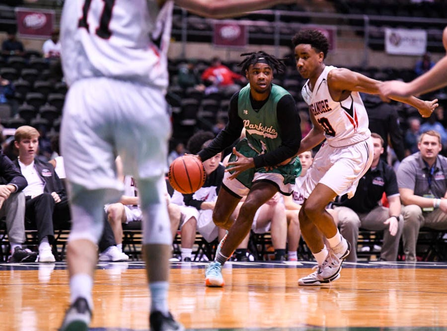 Parkside's Marcus Yarns (5) moves in against Linganore in the Governor's Challenge basketball tournament at the Civic Center in Salisbury on Thursday, Dec 27, 2018.
