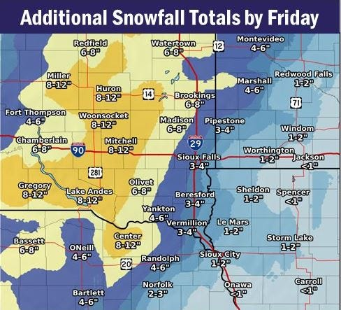 Forecasted additional snowfall totals by Friday, Dec. 28, 2018. A winter storm is affecting much of South Dakota, with some areas projected to receive a foot of snow.