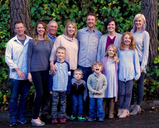 A recent photo of the Meyer family. Vaughn (back row, third from left) and JoAnn (back row, fourth from left) were killed in a plane crash on Christmas Day 2018 while returning home to Sioux Falls from Grand Rapids, Michigan.