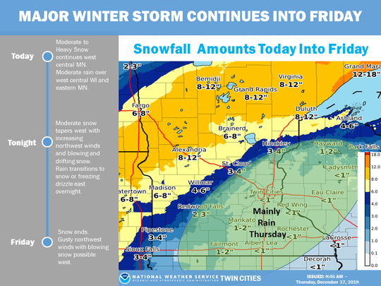 A winter storm warning is in effect for St. Cloud until noon Friday.