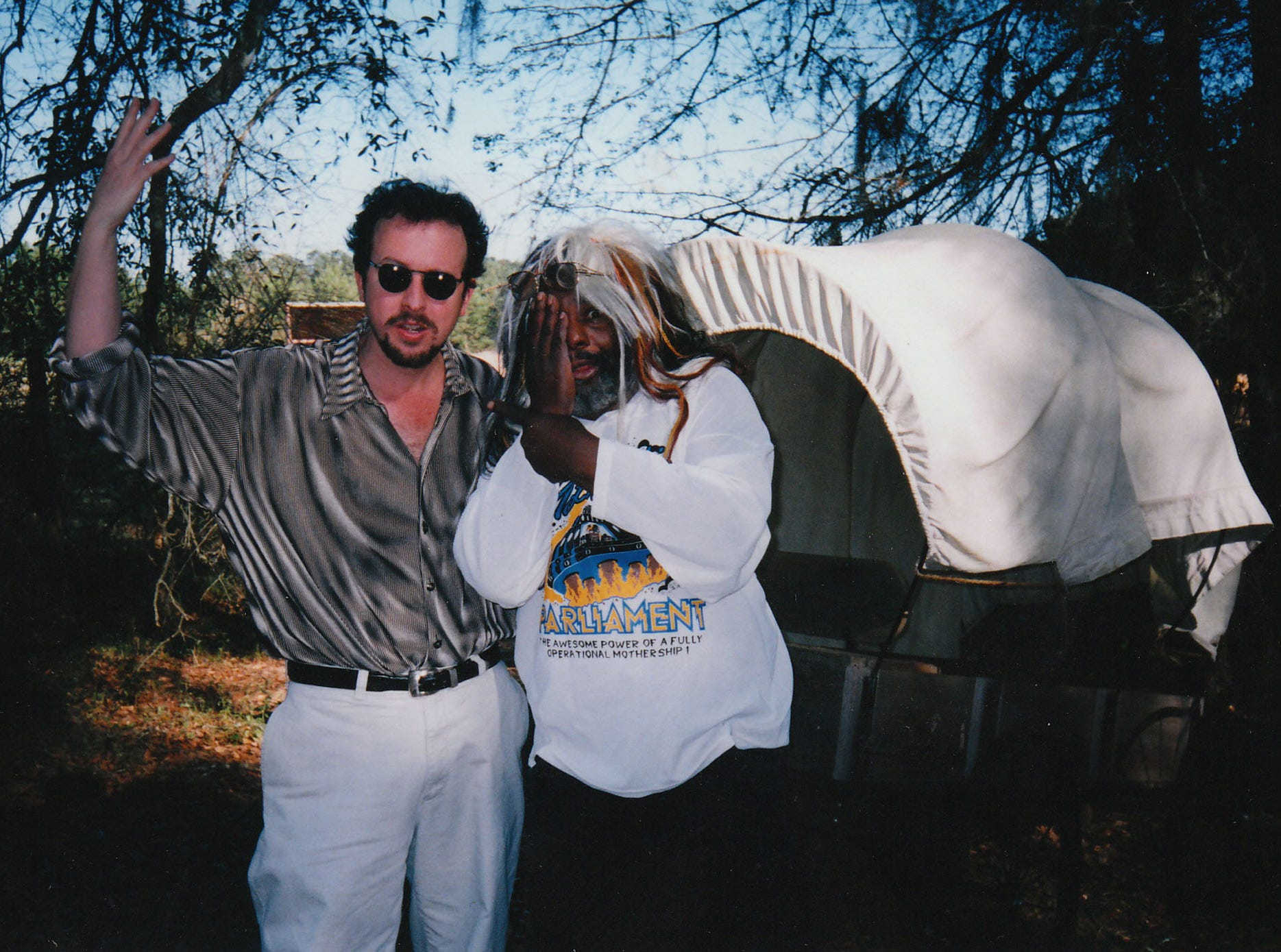 Mark Hinson, left,  and funk musician George Clinton have a meet-up when the P-Funk founder lived near Monticello.