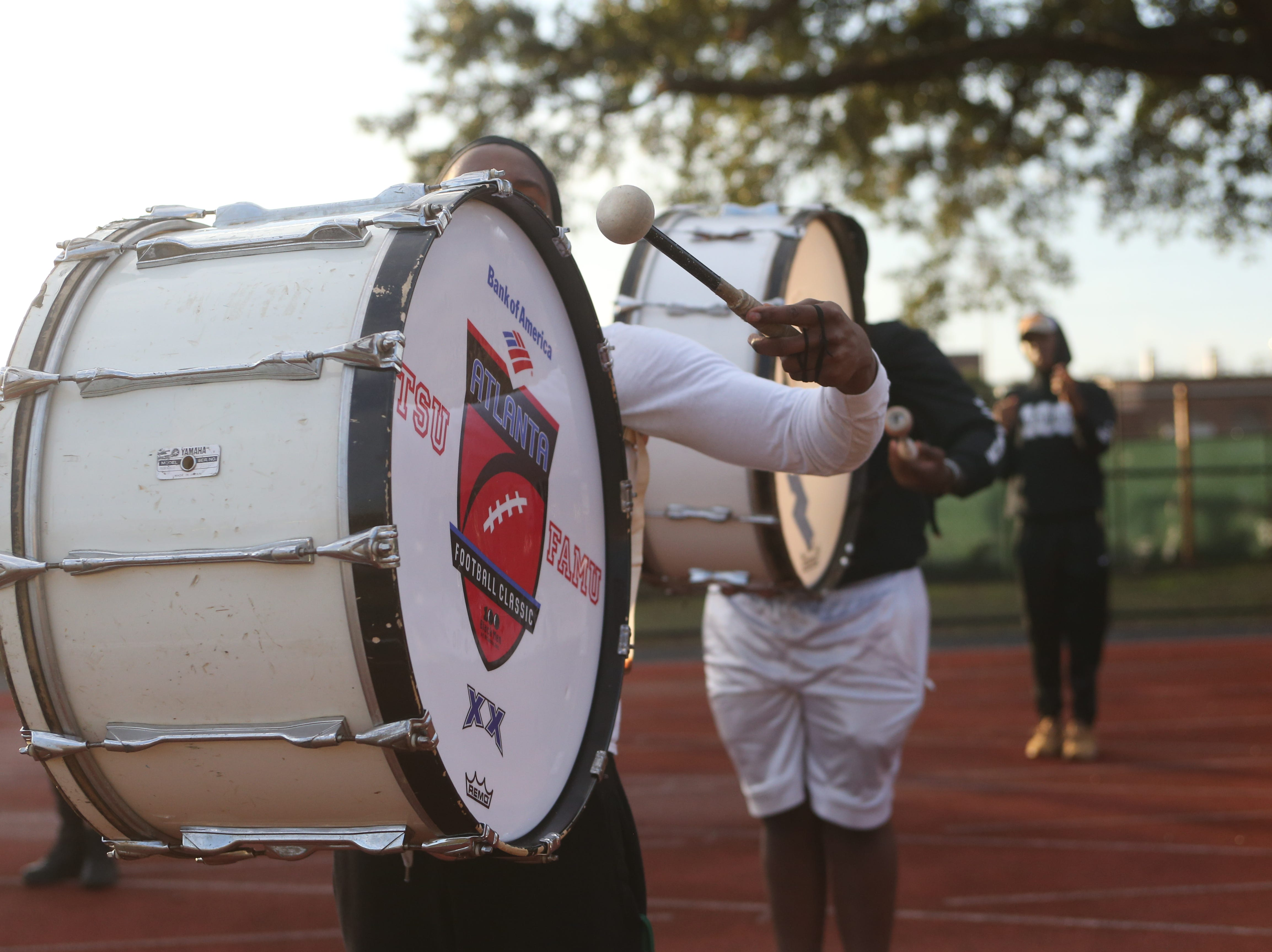The Florida A&M Marching 100 perform their final walkthrough, Thursday, Dec. 27, 2018, before flying to Pasadena, Cal.