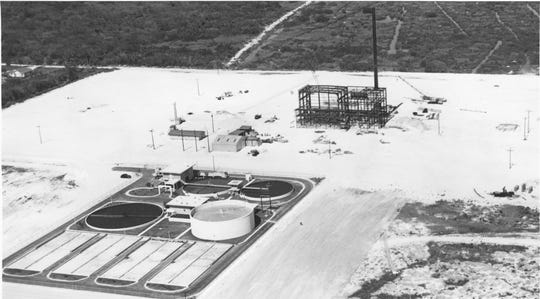 February 27, 1961 - Aerial view of the Vero Beach Sewer Plant with the Vero Beach Power Plant construction in background.