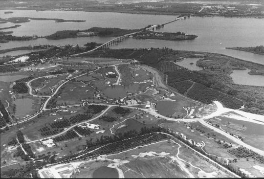 1980s - An aerial view form the late 1980s shows the construction of the Orchid Island Golf Club with the Wabasso Bridge in the background.