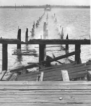 October 5, 1964 - A 400-foot section of the old wooden Wabasso Bridge burned. Fire officials said the blaze was tough to extinguish since the old, weathered timbers burned fiercely. Two replacement floating-type military spans, known as a Bailey Bridge, were put in one month later. The Wabasso Bridge exists today as a fixed-span concrete structure.