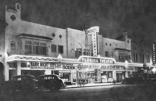 Florida Theatre at night, 1940s