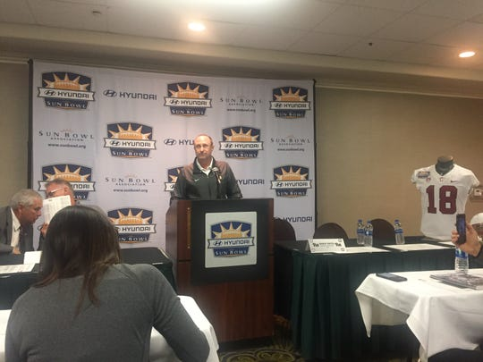 University of Pittsburgh defensive coordinator Randy Bates discusses his team on Thursday during the coordinators press conference leading up to Monday's Hyundai Sun Bowl.