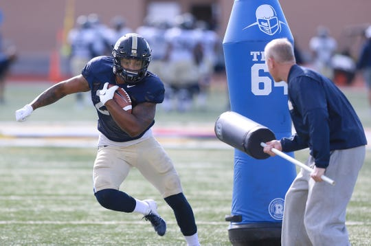 Pitt running back goes through a drill Thursday during the team's practice at the SAC in El Paso.