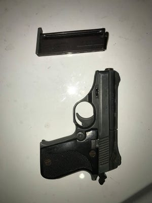 Oxnard police confiscated a .25-caliber handgun Wednesday night from a 17-year-old male.