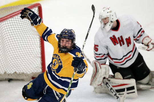 Wausau West's Cade Lemme celebrates after scoring on a breakaway against Neenah in a first round game at the Showdown in Titletown hockey tournament at Cornerstone Community Center last weekend.