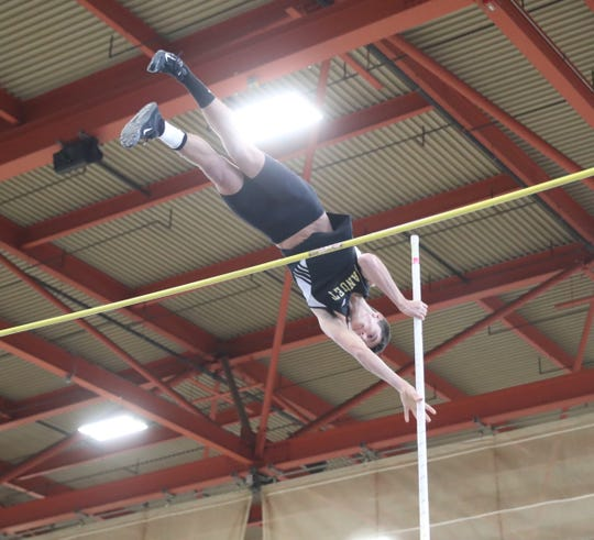 Nanuet pole vaulter Chris Filatov clears 13-feet during the Pearl River Holiday Track & Field Festival held at Rockland Community College in Suffern on Thursday, December 27, 2018.