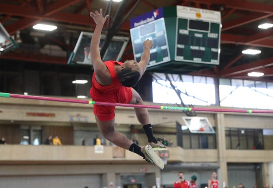 North Rockland high jumper Zaire Haynes clears the bar during the Pearl River Holiday Track & Field Festival held at Rockland Community College in Suffern on Thursday, December 27, 2018.