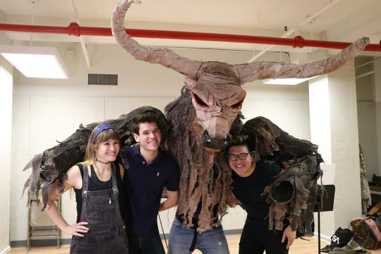 'The Lightning Thief' cast members Kristin Stokes, Chris McCarrell, the Minotaur and Jorrel Javier