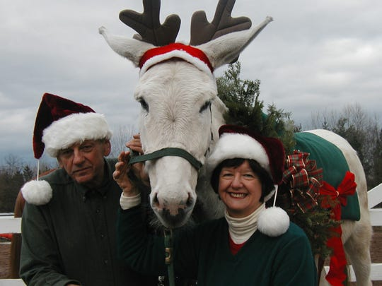 Margaret Winslow and her husband, Joe Stennett didn't have to think too hard when trying to come up with their holiday card this year: It had to include Caleb, Winslow's long-eared Andalusian donkey.