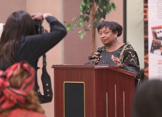 New York State Senator Andrea Stewart-Cousons speaks during the celebration of the first night of a Kwanzaa at Nepperhan Community Center in Yonkers on Wednesday, December 26, 2018.